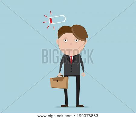 businessman tried and low battery cartoon vector illustration