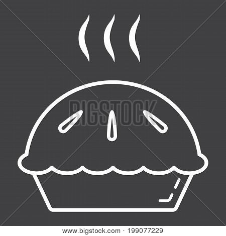 Hot pie line icon, food and drink, bakery sign vector graphics, a linear pattern on a black background, eps 10.