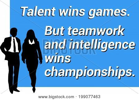 Inspirational motivating quote about teamwork, winning, intelligence and innovation for business presentation for meeting background for slides with groups af business man and woman - vector illustration