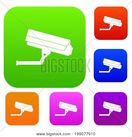 Surveillance camera set icon in different colors isolated vector illustration. Premium collection