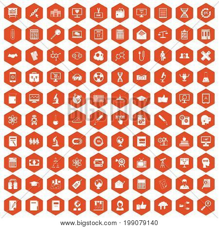 100 analytics icons set in orange hexagon isolated vector illustration