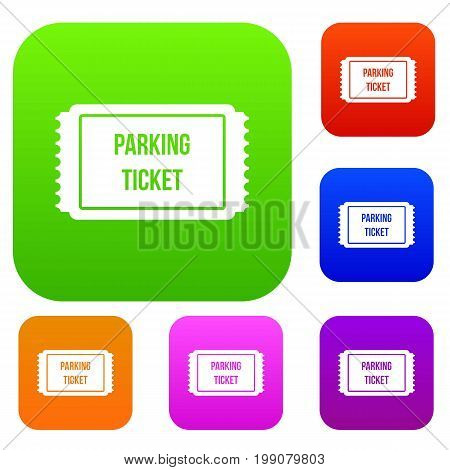 Parking ticket set icon in different colors isolated vector illustration. Premium collection