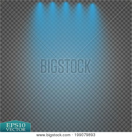 Special light effects. Realistic vector bright projectors for scene lighting isolated on plaid backdrop. Colorful stage lights background. Background show carnival.Vector eps10.