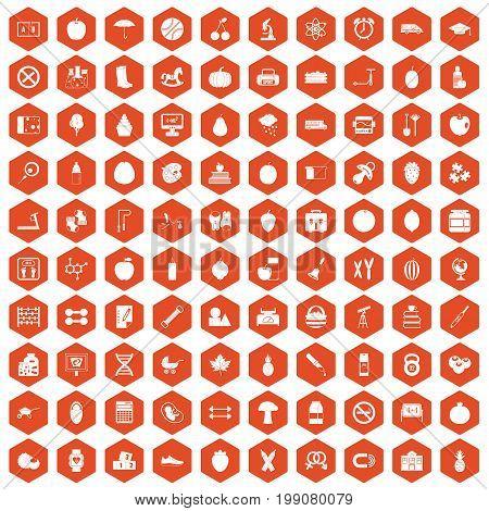 100 apple icons set in orange hexagon isolated vector illustration