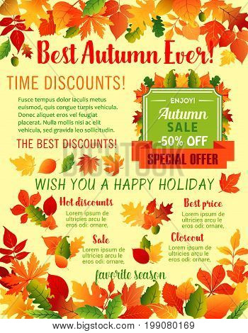 Autumn Sale 50 percent off discount poster template for shop design. Vector maple leaf, oak acorn and autumn foliage for seasonal shopping sale offer, best price and holiday wishes