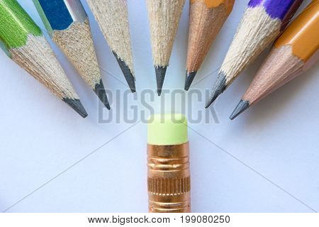 Group Of Pencils And Small Eraser