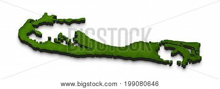 Map Of Bermuda. 3D Isometric Perspective Illustration.