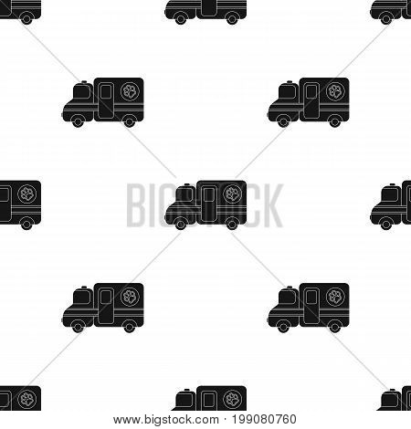 Veterinary ambulance icon in black design isolated on white background. Veterinary clinic symbol stock vector illustration.