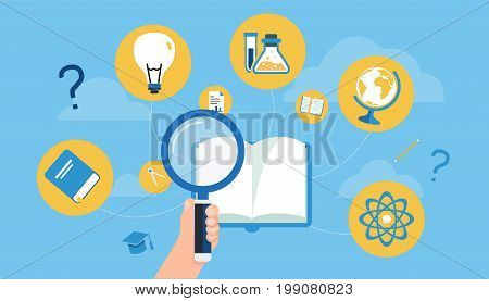 Hand holding magnification to search icons in a book vector.Search knowledge concept.Education concept vector with sky background.