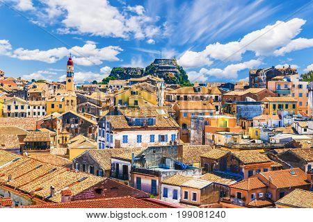 Panoramic view of Kerkyra, capital of  Corfu island, Greece.