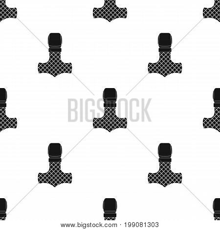 Viking god hammer icon in black design isolated on white background. Vikings symbol stock vector illustration.