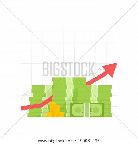 Money Growth Icon. Pile Dollar And Gold Coins With Up Arrow. Vector Illustration