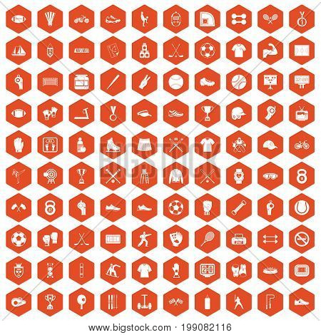 100 athlete icons set in orange hexagon isolated vector illustration