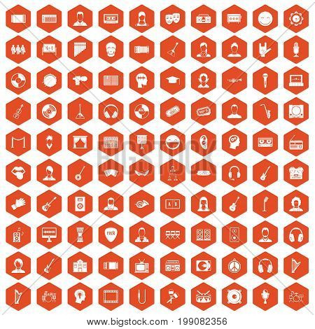 100 audience icons set in orange hexagon isolated vector illustration
