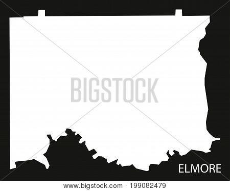 Elmore County Map Of Alabama Usa Black Inverted Illustration