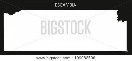 Escambia County Map Of Alabama Usa Black Inverted Illustration