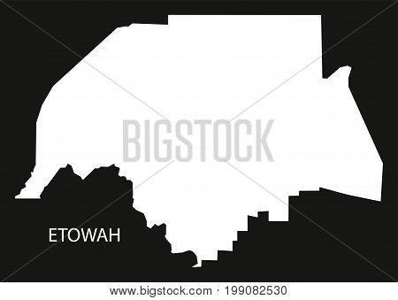 Etowah County Map Of Alabama Usa Black Inverted Illustration