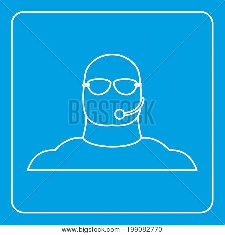 Safety guard man icon blue outline style isolated vector illustration. Thin line sign