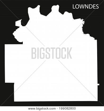 Lowndes County Map Of Alabama Usa Black Inverted Illustration
