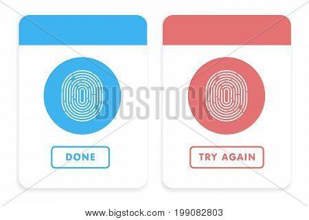 Blue And Red Line Fingerprint In Black Background Vector Illustration