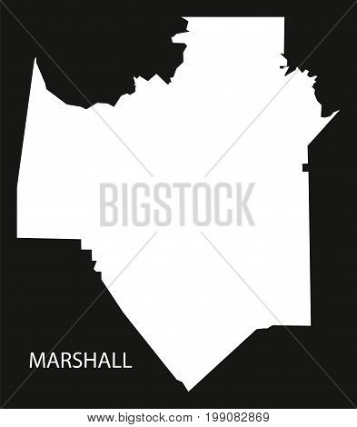 Marshall County Map Of Alabama Usa Black Inverted Illustration