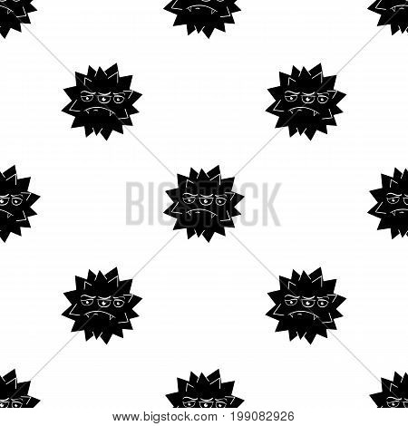 Orange virus icon in black design isolated on white background. Viruses and bacteries symbol stock vector illustration.