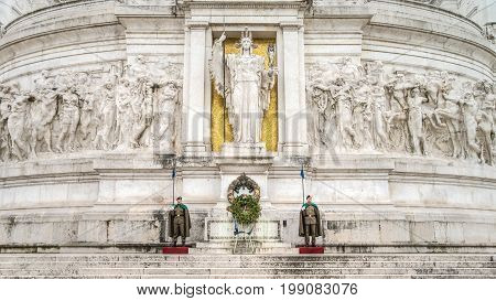 Rome Italy February 2015: The honor guards of national monument of Vittorio Emanuele II on the the Piazza Venezia in Rome Italy