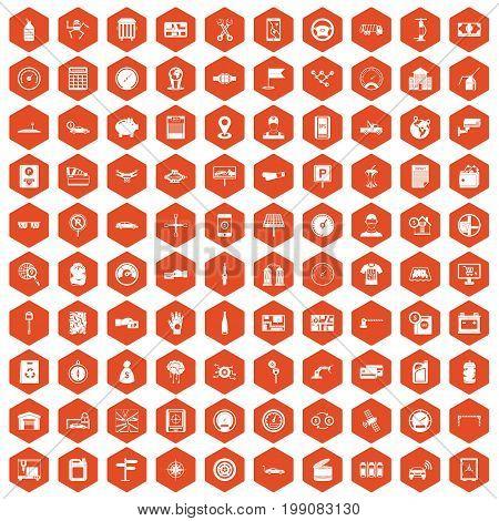 100 auto repair icons set in orange hexagon isolated vector illustration
