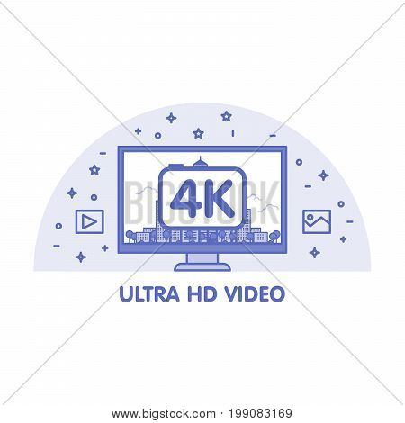 Monitor With Ultra Hd Video Emblem