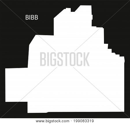 Bibb County Map Of Alabama Usa Black Inverted Illustration