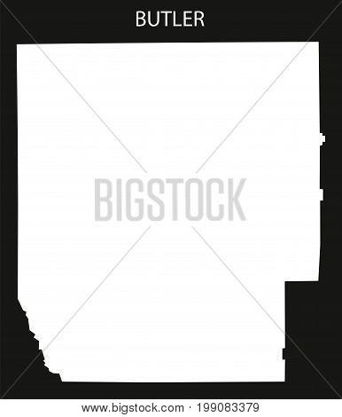 Butler County Map Of Alabama Usa Black Inverted Illustration