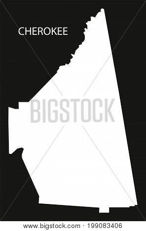 Cherokee County Map Of Alabama Usa Black Inverted Illustration
