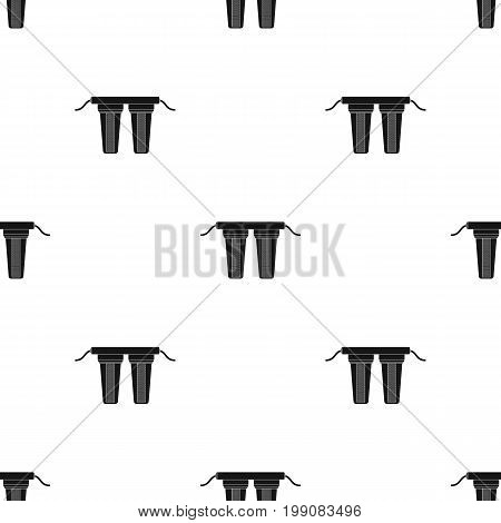 Water filters icon in black design isolated on white background. Water filtration system symbol stock vector illustration.