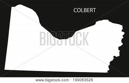 Colbert County Map Of Alabama Usa Black Inverted Illustration