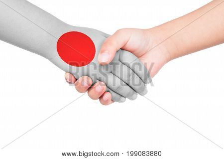 Handshake Between A Child And Japan