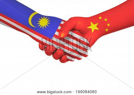 Handshake Between China And Malaysia
