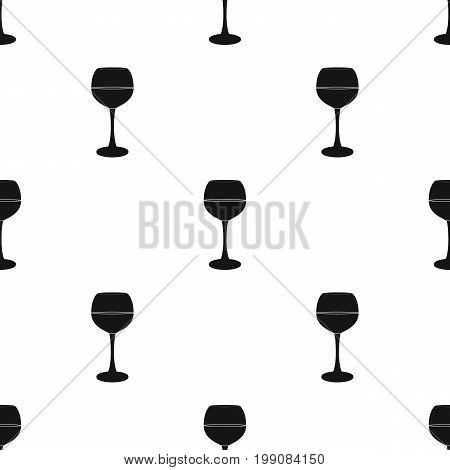 Glass of red wine icon in black design isolated on white background. Wine production symbol stock vector illustration.