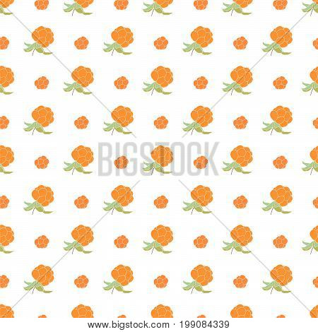 Ripe cloudberries on white background. Seamless pattern. Vector illustration.