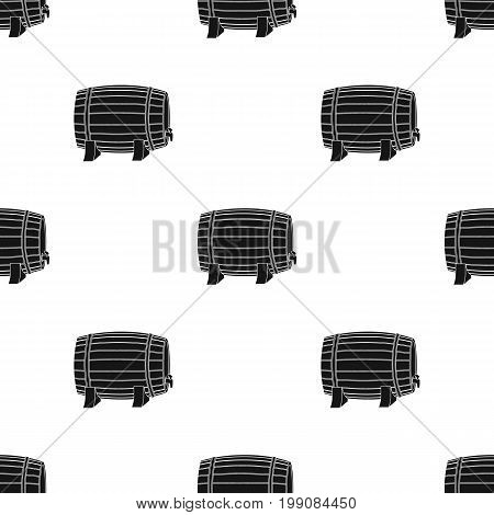 Barrel of wine icon in black design isolated on white background. Wine production symbol stock vector illustration.
