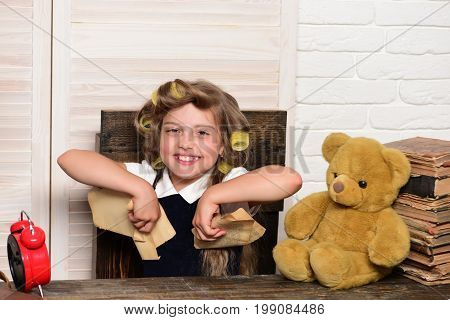 Little Baby Secretary With Bear And Book