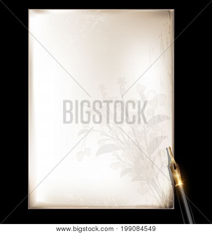dark background retro stylized sheet of paperwitj floral pattern and old-fashioned writing pen