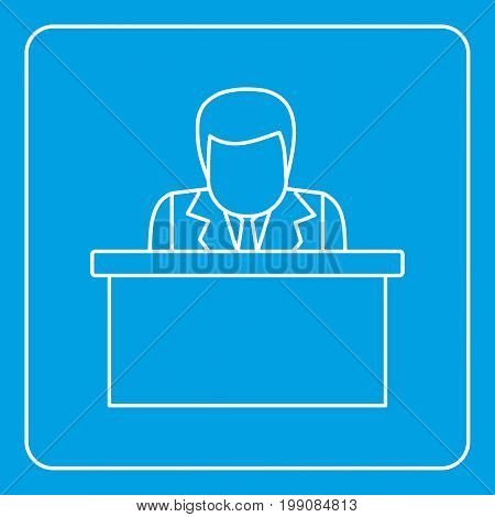 Orator speaking from tribune icon blue outline style isolated vector illustration. Thin line sign