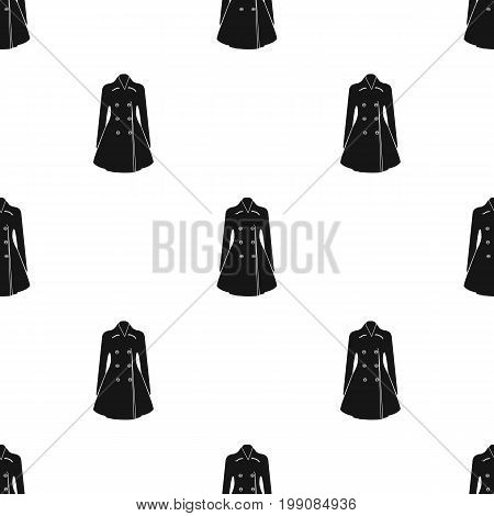 Blue female restrained coat buttoned. Women's outerwear.  Woman clothes single icon in black style vector symbol stock web illustration.