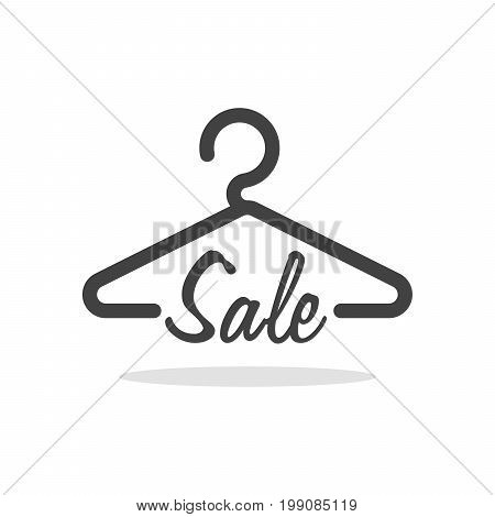 Hanger Symbol With Sale Letter. Clothes Shoping Concept Vector Illustration