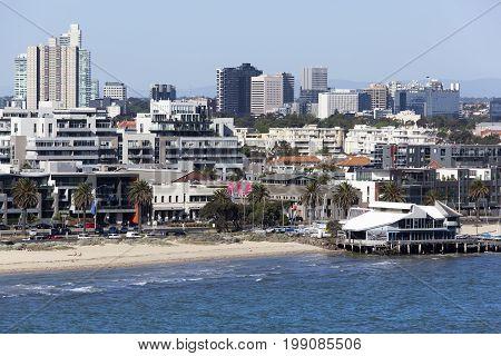 The view of Albert Park beach the inner suburb of Melbourne city (Victoria Australia).