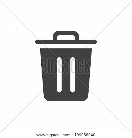 Trash bin simple icon vector, filled flat sign, solid glyph isolated on white. Delete symbol, logo illustration. Pixel perfect vector graphics