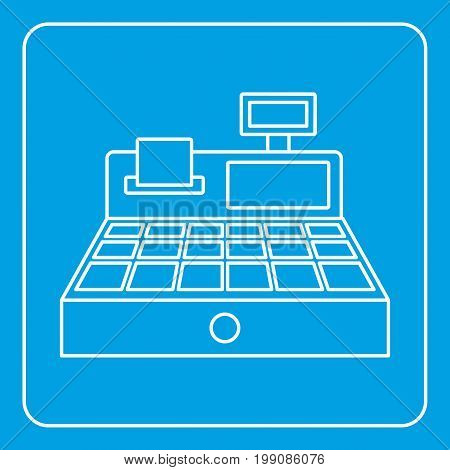 Sale cash register icon blue outline style isolated vector illustration. Thin line sign