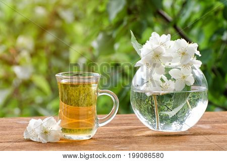Transparent Mug Of Tea And A Vase With Jasmine On A Wooden Table, Greens On The Background, Sunlight