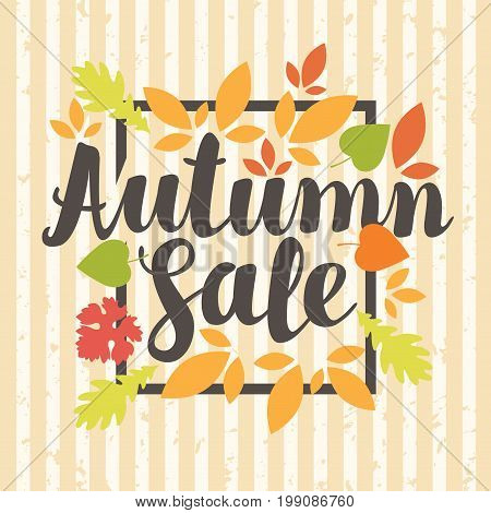Vector banner with the inscription Autumn sale. Can be used for flyers banners or posters. Vector illustration with colorful autumn leaves on the striped background