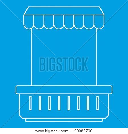 Window with canopy and window and flowerbox icon blue outline style isolated vector illustration. Thin line sign
